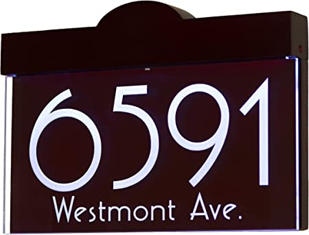 Amazon Com 12v Dc Auto On Off Custom Illuminated House Numbers Address Sign Address Plaque Lighted With Led Laser Engraved On Acrylic Sign With Wood Frame Garden Outdoor