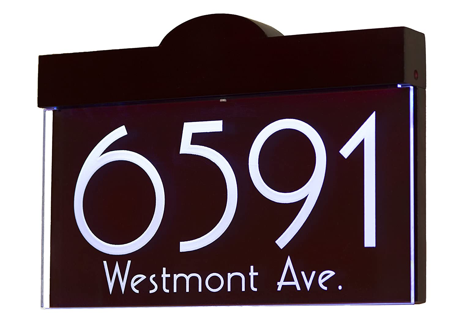 12-16V AC Illuminated House Numbers Address Sign Address Plaque LED Lighted Laser Engraved On Acrylic Sign with Hard Wood Frame and Remote Control HenryChou 16V AC Version