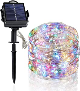 Heaffey Solar String Lights, 40 Feet 120 Led 8 Modes Silver Wire Light, Waterproof Flashing Outdoor Fairy Lighting, for Courtyard Garden Tree Christmas Wedding Party Decoration(Multicolor,1 Pack)