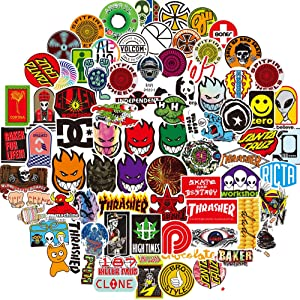 Fashion Brand Stickers for Laptop(100pcs) Graffiti Decals for Motorcycle Bicycle Skateboard Luggage Snowboard Travel Case[No-Duplicate Sticker Pack]