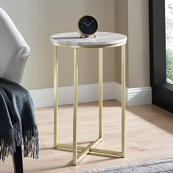 Walker Edison Modern Metal Round Side Accent Living Room Storage Small End Table, 16 Inch, Grey Marble