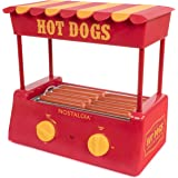 Nostalgia HDR8RY Hot Dog Warmer 8 Regular Sized, 4 Foot Long and 6 Bun Capacity, Stainless Steel Rollers, Perfect For Breakfa