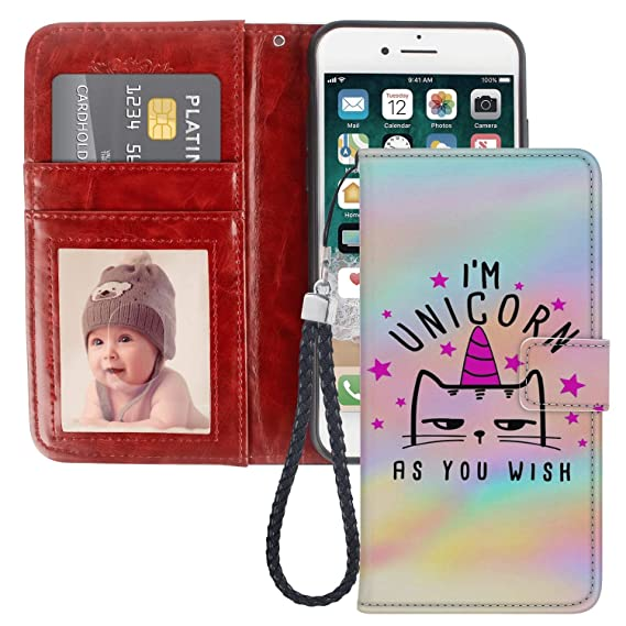 wholesale dealer 173a6 26b13 JQLOVE Apple iPhone 7/8 Plus Wallet Phone Case, I'm Unicorn As You Wish  Series PU Leather Flip Magnetic Clasp Multi-Card Slot Cover Wallet Case for  ...