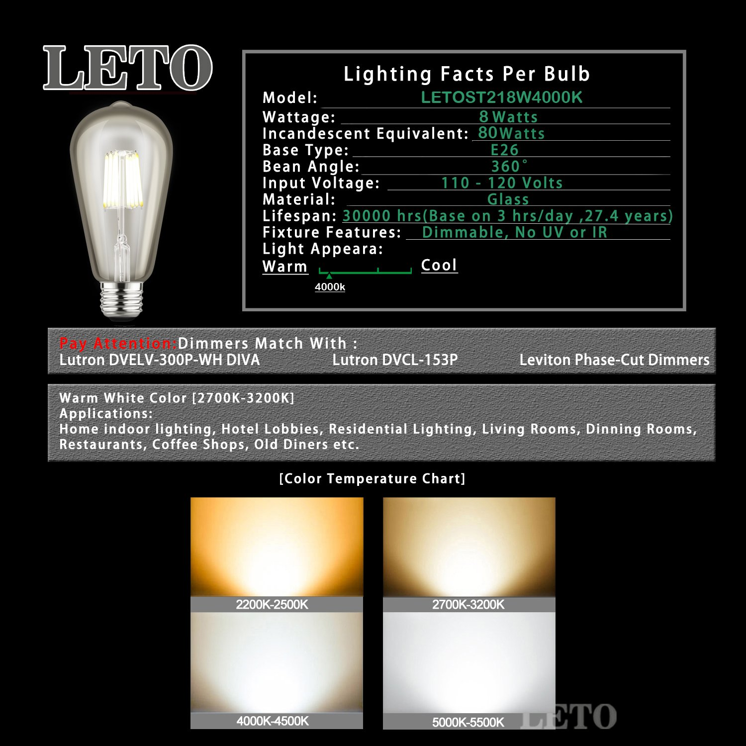 Leto st21 8w led dimmable filament edison style light bulb ul leto st21 8w led dimmable filament edison style light bulb ul listed 80w equivalent e26 base 8w 4000k 4 pack amazon nvjuhfo Image collections