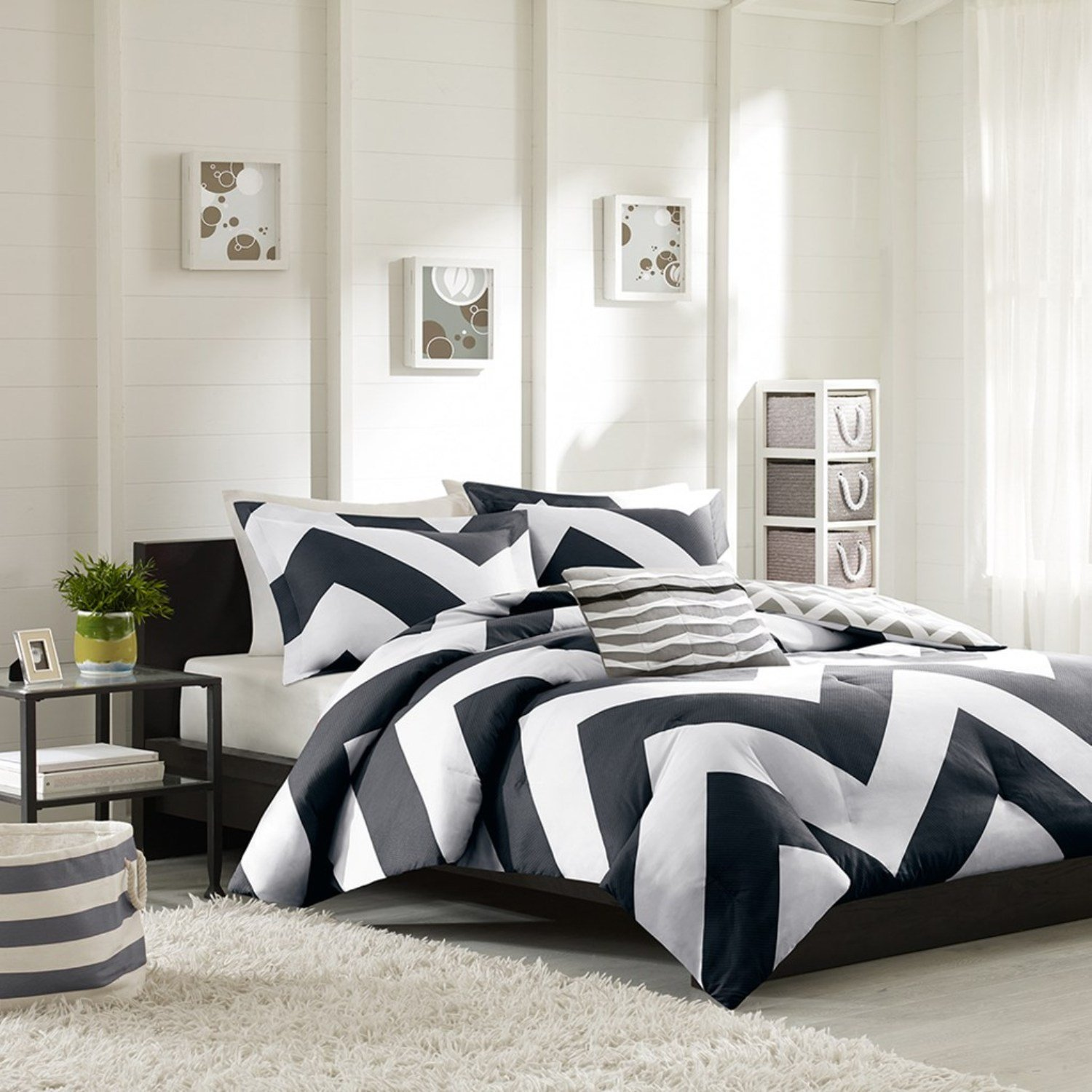Black and white striped bed sheets - Mi Zone Libra Comforter Set Black Full Queen