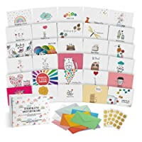 Dessie 30 Unique Thinking Of You Cards With Greetings Inside. Large Greeting Cards Boxed Set. 30 Different Designs - No Repetition. Assorted Color Envelopes, Gold Seals, Storage Box.