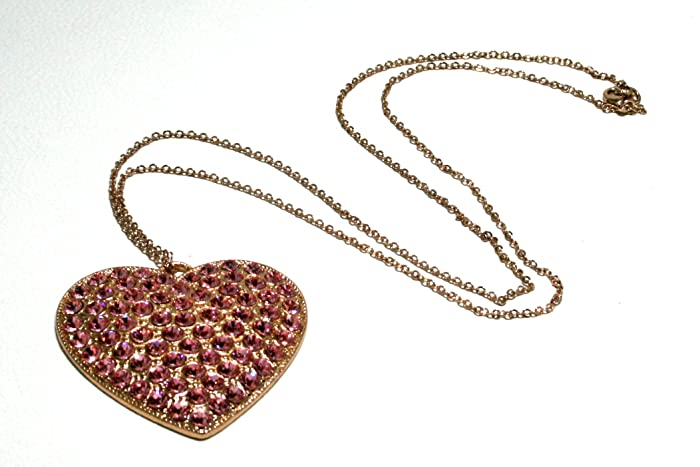 originale a caldo promozione prezzo basso collana galvanica oro rosa con pendente cuore con strass ...