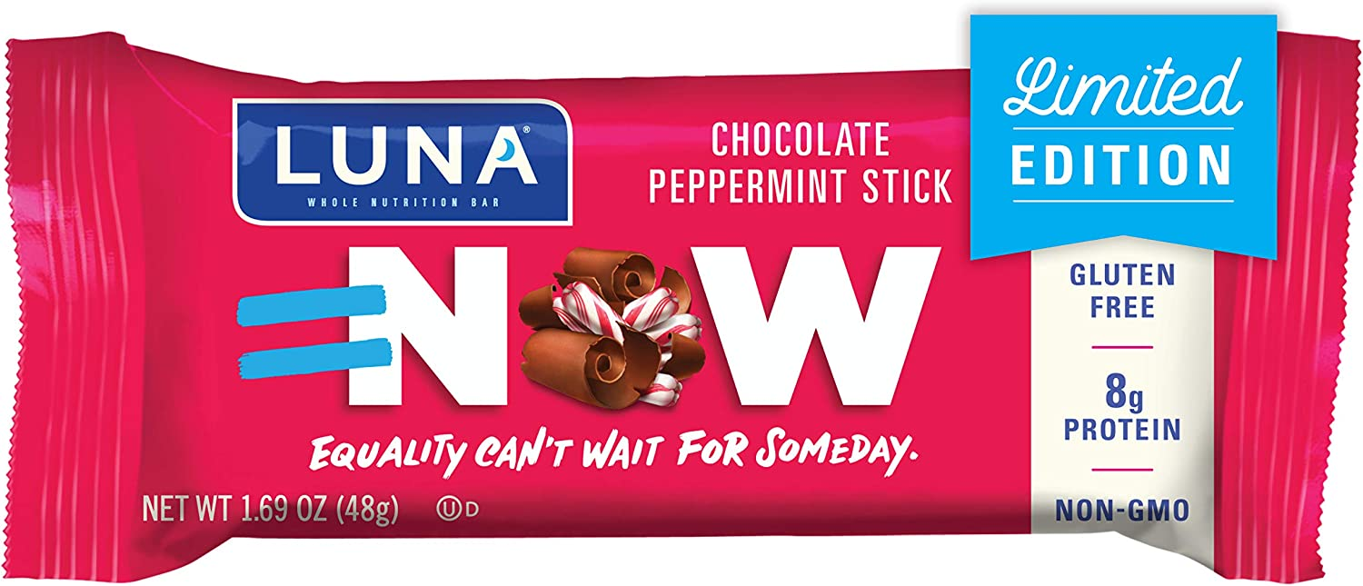 LUNA BAR - Gluten Free Bars - Chocolate Peppermint Stick - (1.69 Ounce Snack Bars, 15 Count)(Packaging May Vary)