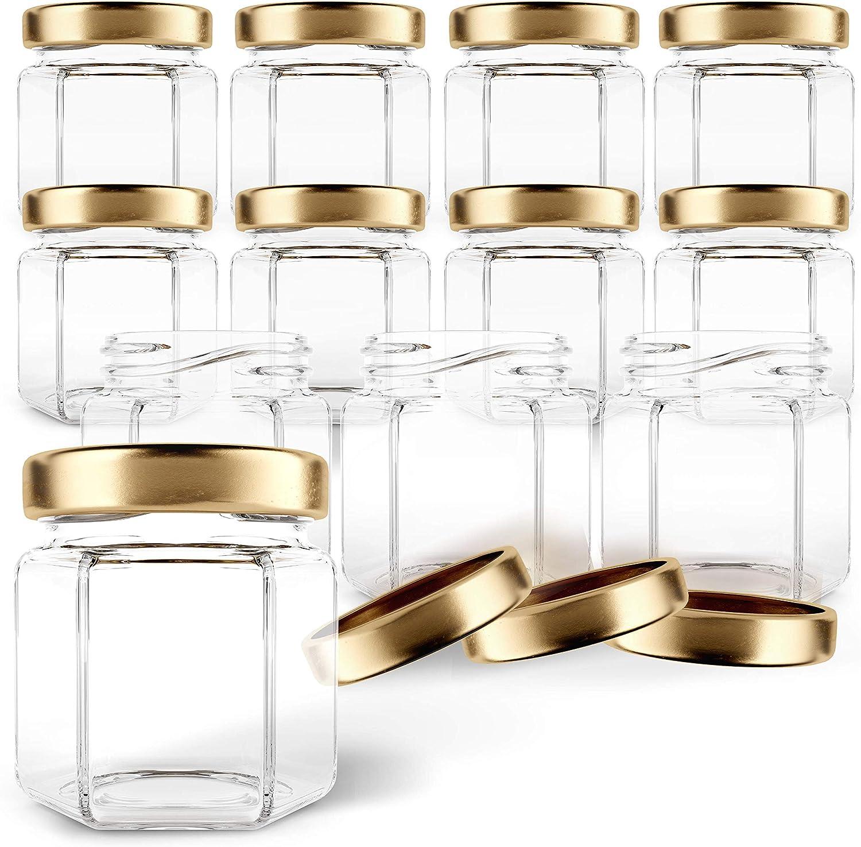 Gojars Hexagon Glass Jars 1.5oz Premium Food-grade. Mini Jars With Lids For Gifts, Wedding Favors, Honey, Jams And More. (12, 1.5oz)