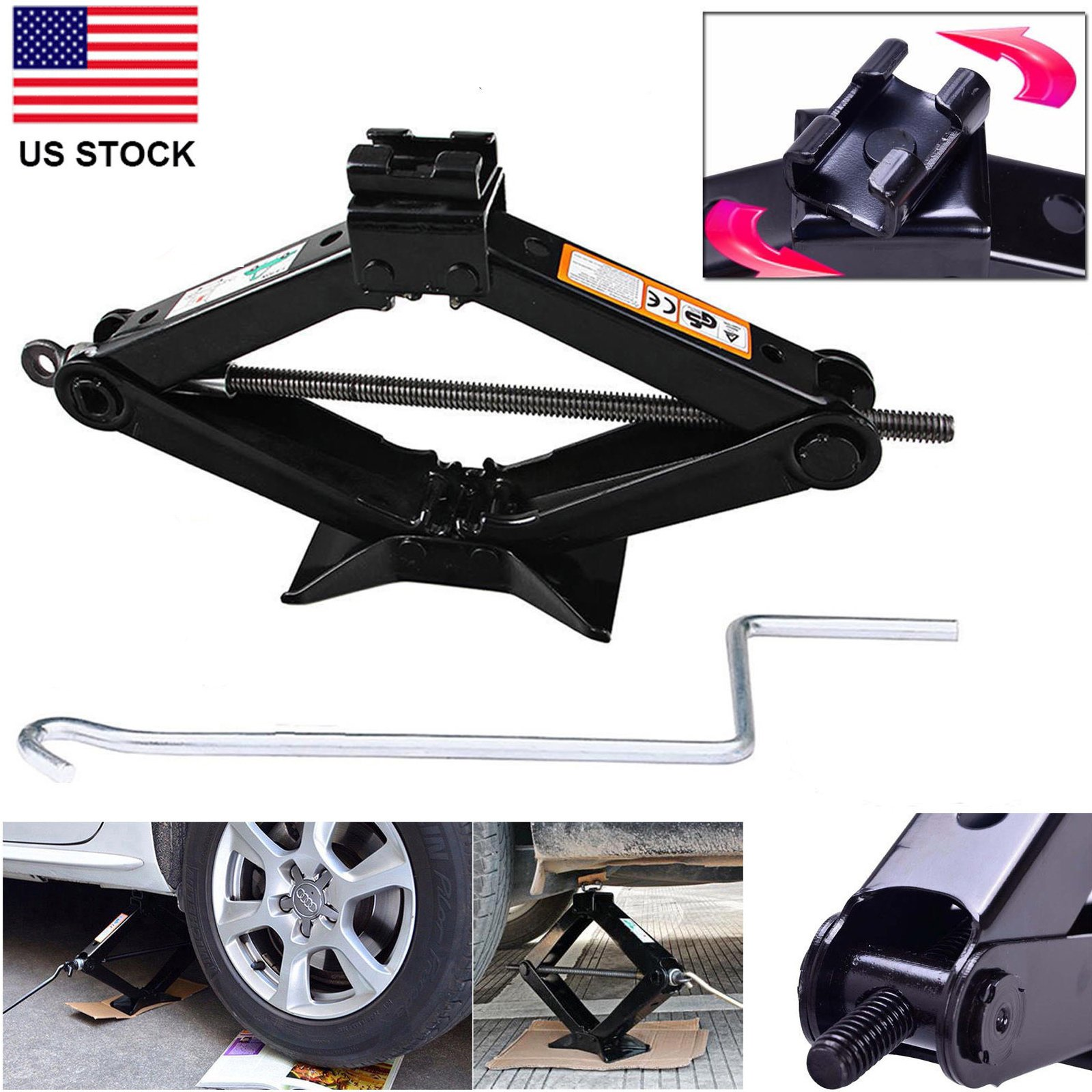 DICN 2 Ton Car Lift Scissor Jack Hand Screw Automotive Universal Spare Tire Garage Tool Emergency for Hyundai Toyota Nissan Volvo Dodge VW Kia Chrysler