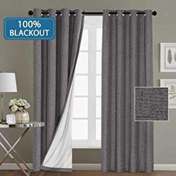 Hversailtex 100 Blackout Linen Look Waterproof Grey Curtains For Bedroom Blackout Drapes 96 Inches Long Grommet Window Treatment Curtain Draperies