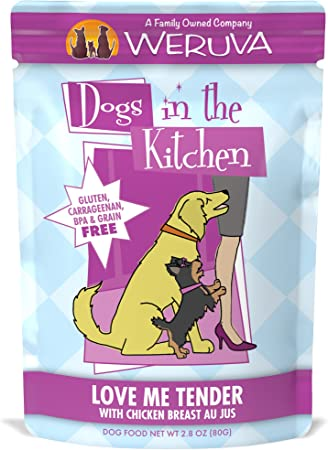 Weruva Dogs In The Kitchen Love Me Tender With Chicken Breast Au Jus Dog Food 2 8oz Pouch Pack Of 12 Pet Supplies Amazon Com