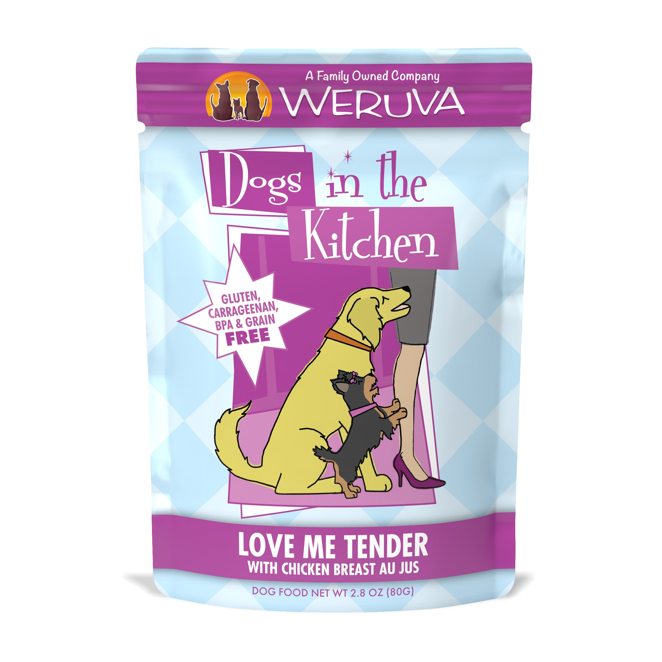 Weruva Dogs in the Kitchen, Love Me Tender with Chicken Breast Au Jus Dog Food, 2.8oz Pouch (Pack of 12)