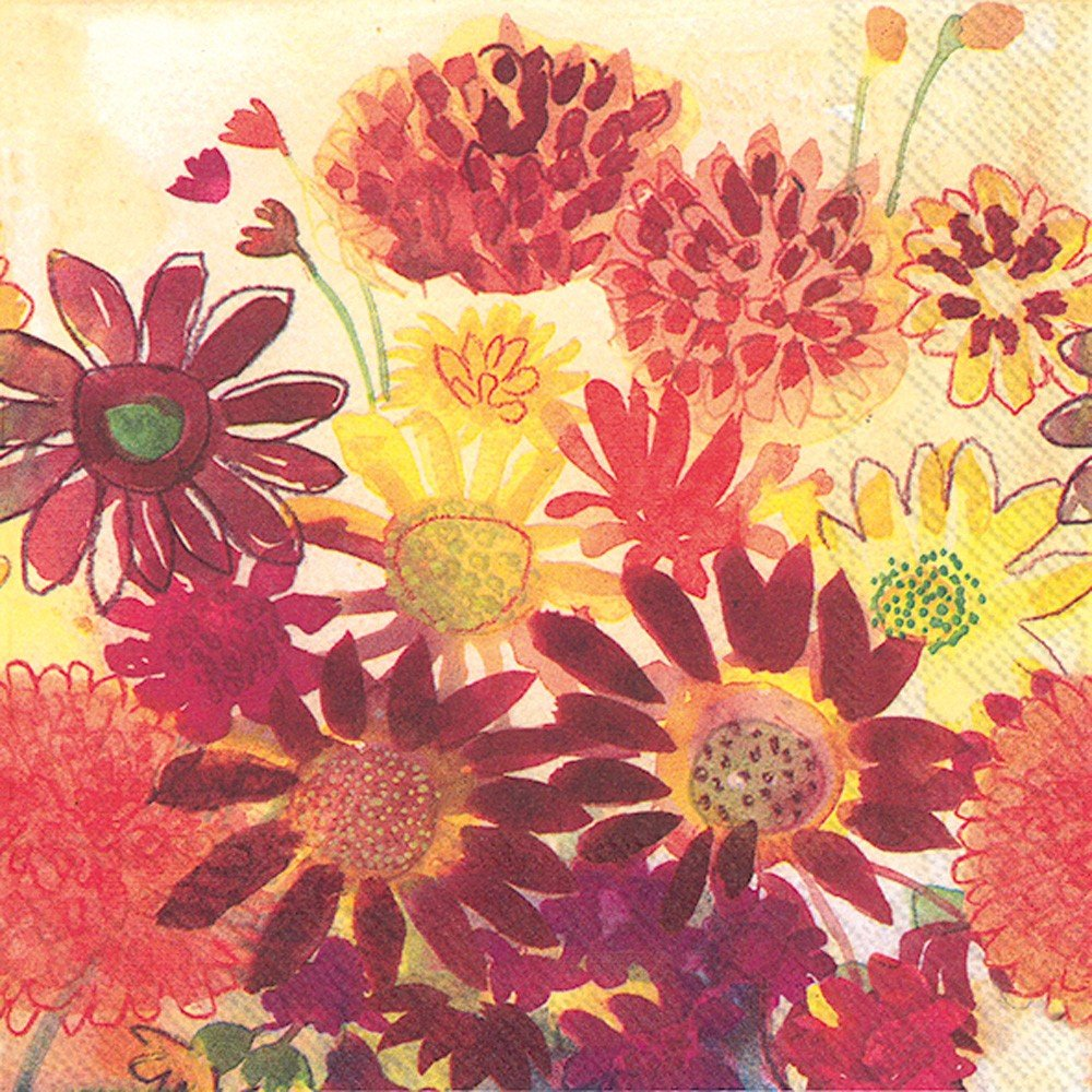 Ideal Home Range 20 Count Cocktail Napkins, Bunch of Fall Flowers