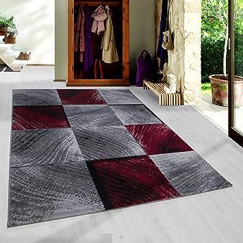 Schon Moderner Kurzflor Guenstige Teppich Karo Baumrinde Schwarz Grau Weiss Rot  Meliert 5 Groessen Wohnzimmer, Jugendzimmer