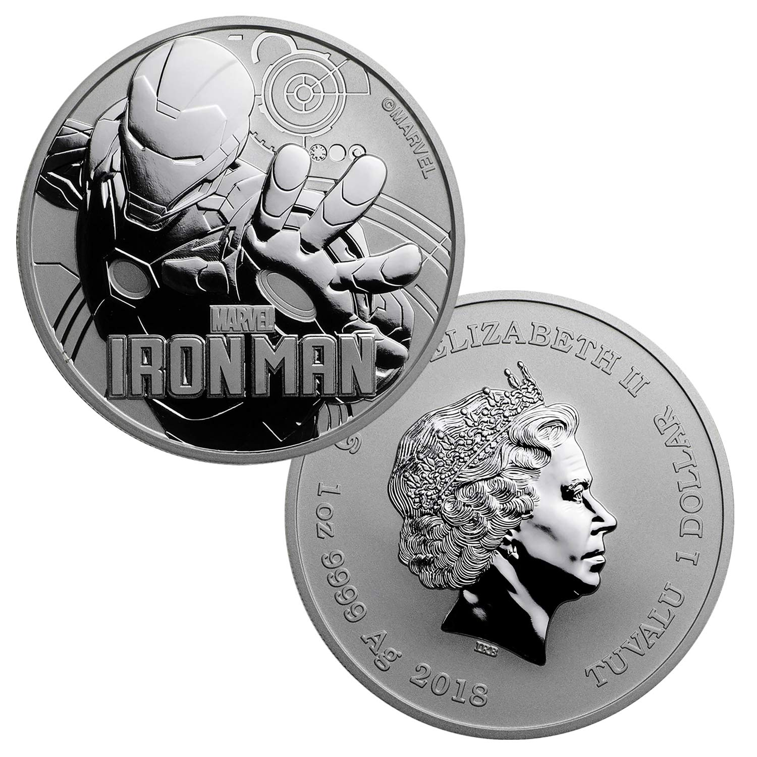 Gold Tuvalu 2018 $1 IRON MAN III 1 oz Silver