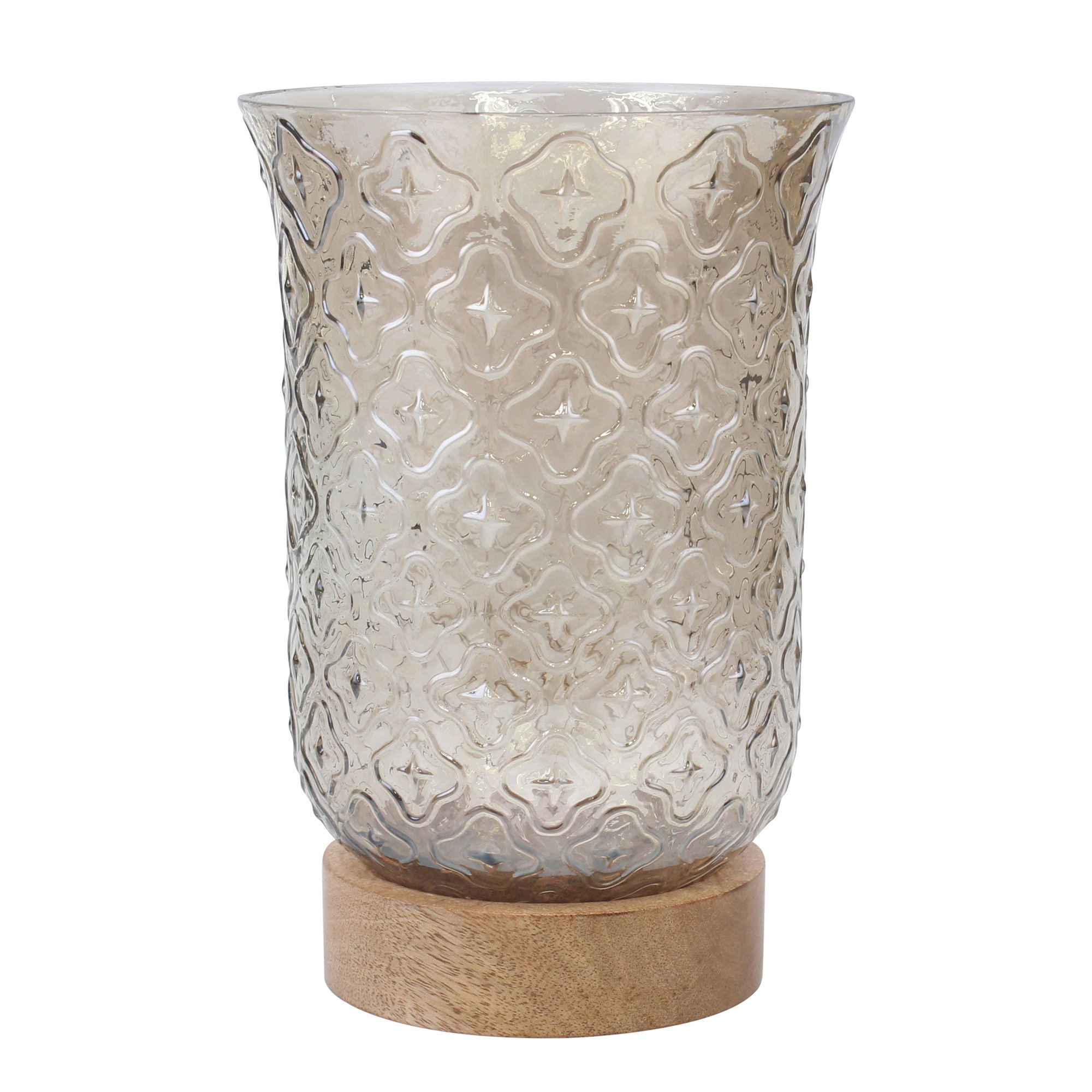 Stonebriar Pressed Vintage Luster Glass Hurricane Candle Holder and Natural Wood Base, Decorative Antique Design for Wedding Decorations, Parties, or Everyday Home Decor