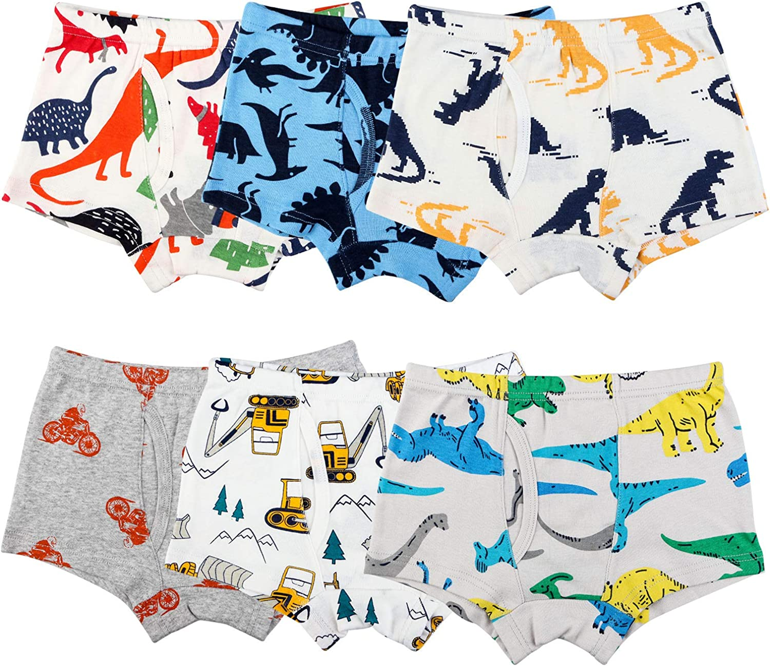 Auranso Toddler Boys Cotton Boxer Briefs Underwear Dinosaur Car 6 Pack 2-11Y