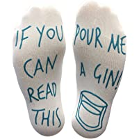 BRING ME SOCKS 'If You Can Read This Pour Me A Gin' Funny Socks - Perfect Joke Novelty Gift For Men & Women, White Blue…