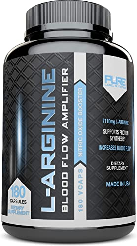 L-Arginine Pure-A 2110mg 180 Capsules L Arginine Nitric Oxide Booster, Build Muscle Increase Strength – Best Purest Arginine Top Rated – Most Effective Dose – Made in USA