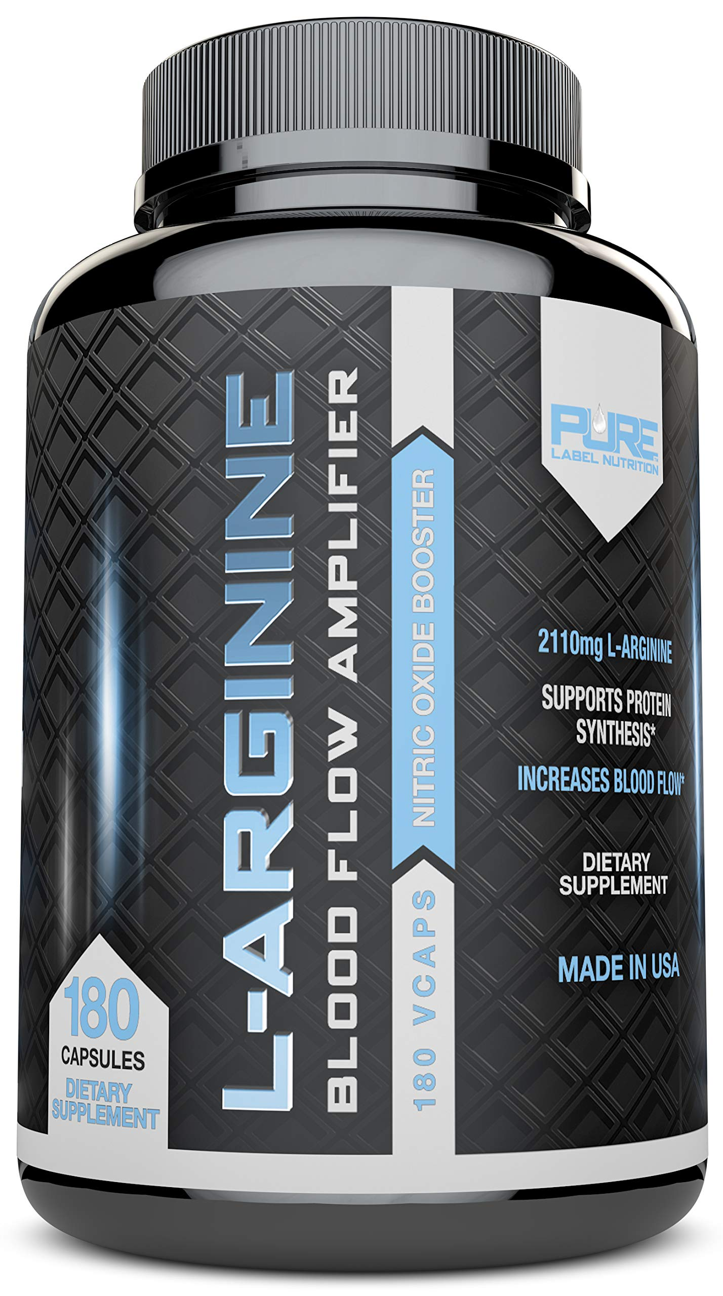 L-Arginine Pure-A 2110mg (180 Capsules) L Arginine Nitric Oxide Booster, Build Muscle Increase Strength - Best Purest Arginine + Top Rated - Most Effective Dose - Made in USA by Pure Label Nutrition