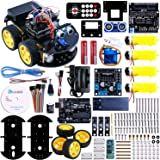 Elegoo UNO Project Smart Robot Car Kit with Four-wheel Drives, UNO R3, Line Tracking Module, Ultrasonic Sensor, Bluetooth module, IR Remote Intelligent Car Kit Arduino Car Project