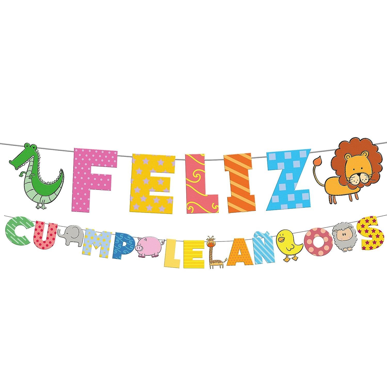 Guirnalda letras feliz cumpleaños animales Eurofiestas