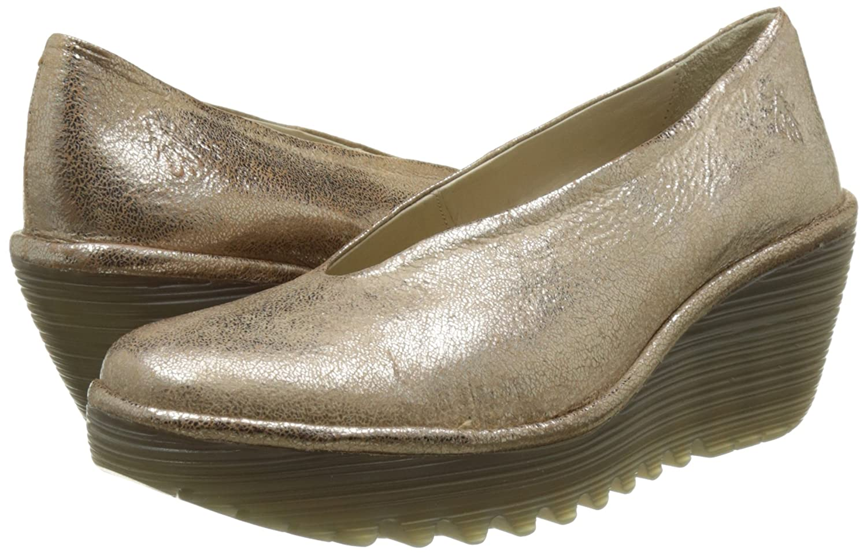 FLY Schuhe London Damen Yaz Wedge Schuhe FLY Silber (Luna 205) cc0e3d