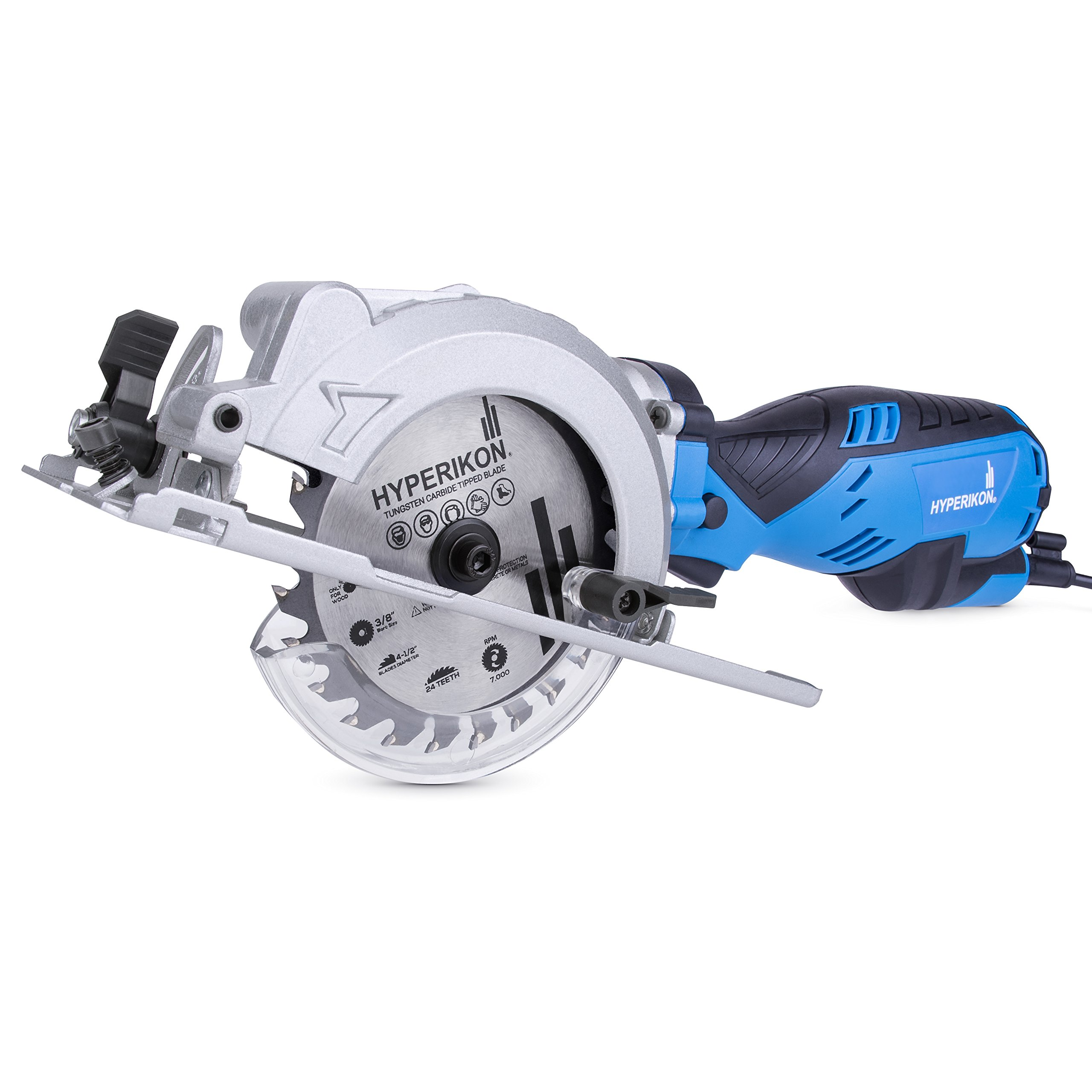 """Hyperikon Electric Compact Circular Saw Corded 4-1/2"""", 5.0 Amp Power, 3500 RPM, 120V Small Circular Saw Worm Drive - Case, 24T TCT Blade, Rip Guide, Dust Port Vacuum Adaptor, Hex Key"""