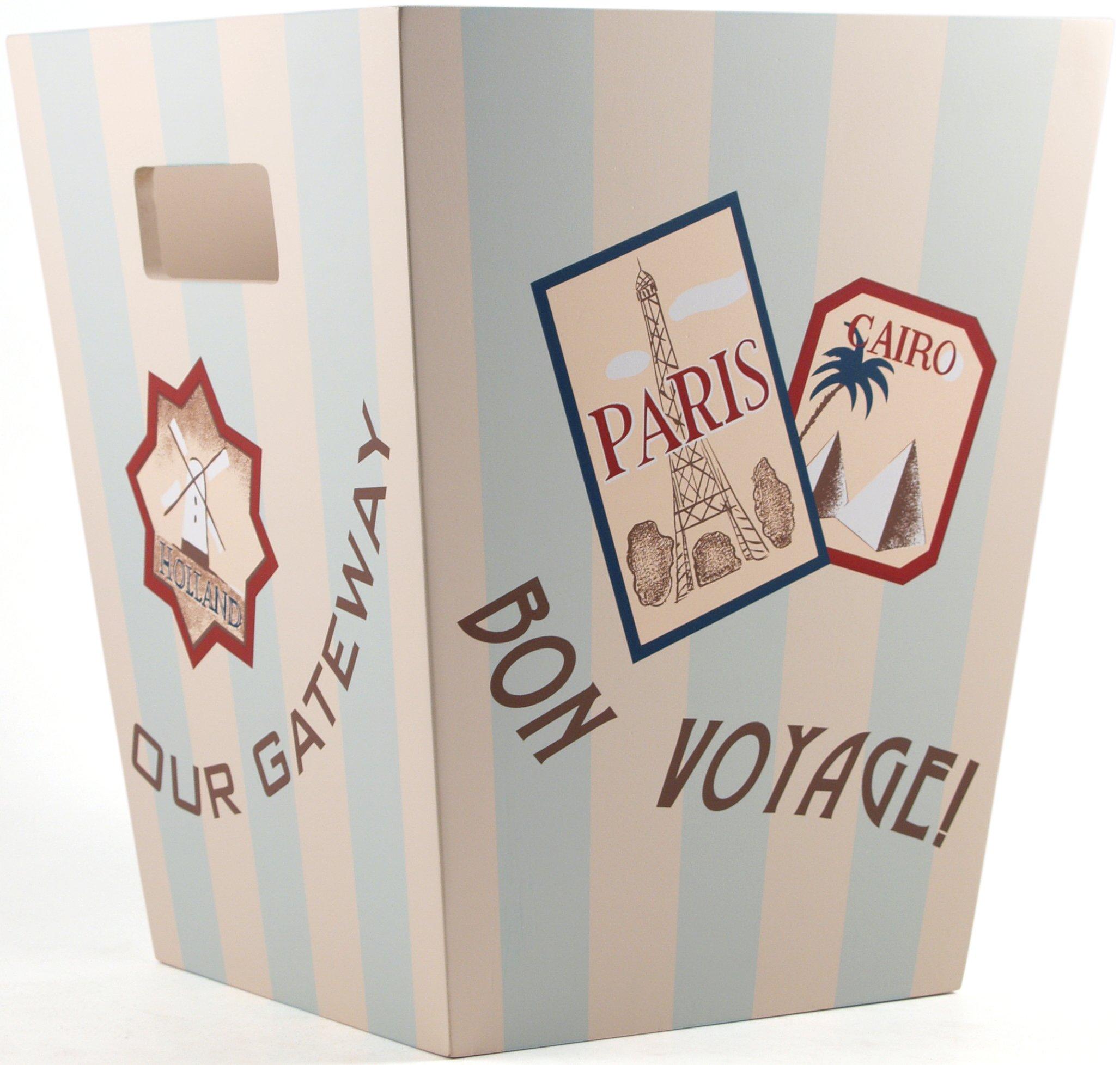 BigKitchen Grand Tour Vintage Style Striped Wood Wastebasket by BigKitchen (Image #1)