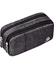 """Large Pencil Case Office Supplies - Durable Student Office Pen Holder Organizer Stationary Bag with Double Zippers Multi Big Capacity Compartments for Adults Girls Boys 8.3x4.3x2.8"""" (Heather-01)"""