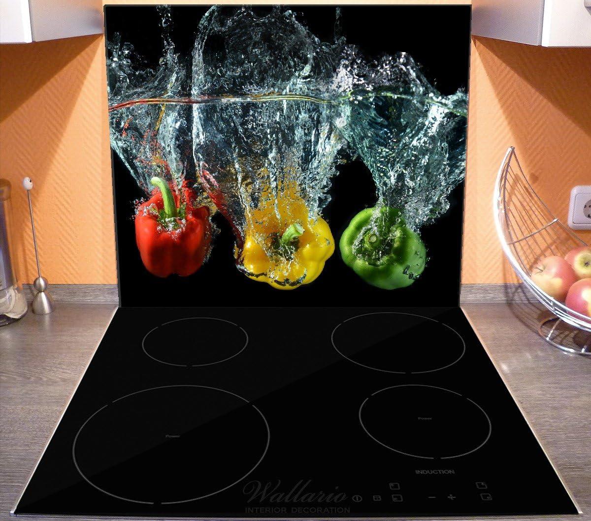 Wallario Herdabdeckplatte 2-teilig aus Glas frische Paprika-Mix 60x52cm