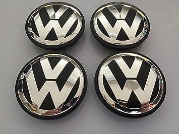 Volkswagen conjunto 65mm de 4 centro negro rueda tapacubos emblema: Amazon.es: Coche y moto