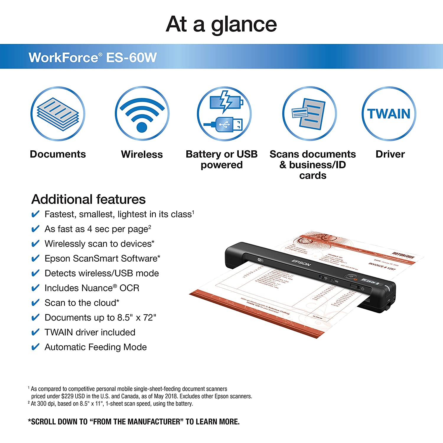 Epson Workforce ES-60W Wireless Portable Sheet-fed Document Scanner for PC  and Mac