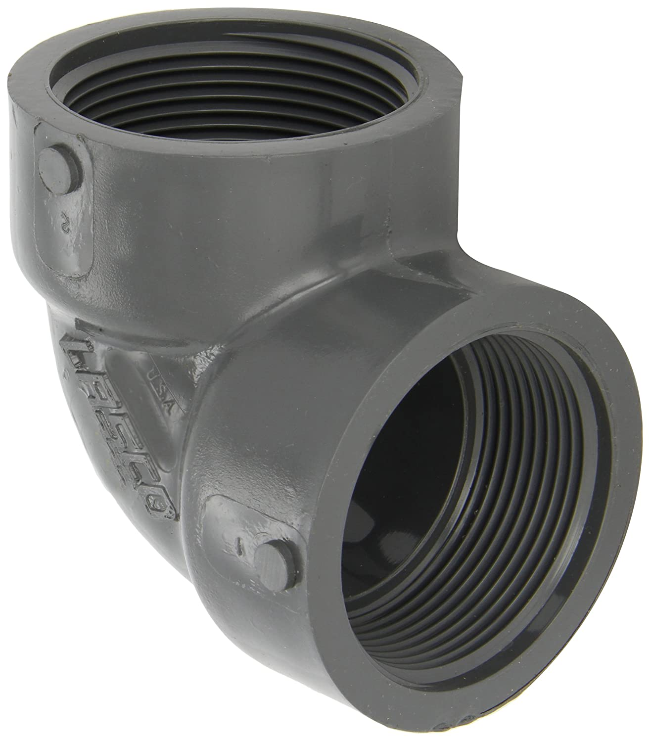 GF Piping Systems PVC Pipe Fitting 1-1//2 NPT Female Tee Schedule 80 Gray