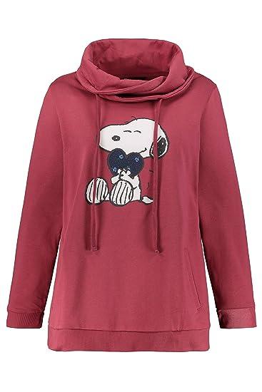 Ulla Popken Damen große Größen bis 64, Sweatshirt mit XL Snoopy Moti. Hoher Stehkragen mit Bindeband, 2 Taschen, Lange Ärmel, Rippbündchen, 720755