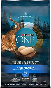Purina ONE Natural, High Protein, Grain Free Dry Cat Food, True Instinct With Real Ocean Whitefish - 3.2 lb. Bag