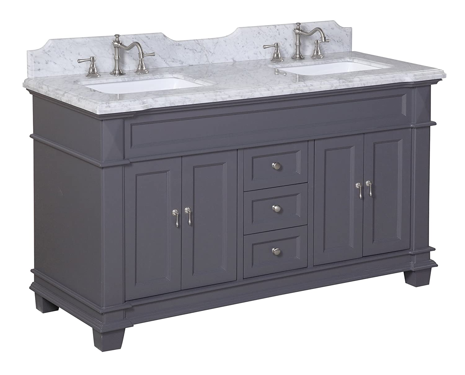 Durable Service Kitchen Bath Collection Kbc599gycarr Elizabeth Double Sink Bathroom Vanity With