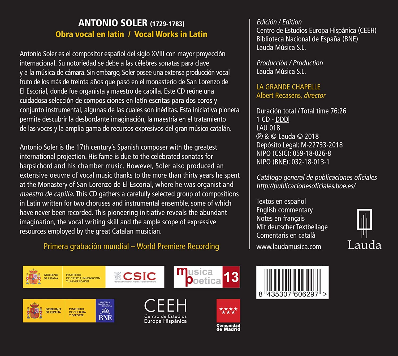 Antonio Soler: Obras Vocales En Latin/ Recasens: La Grande ...