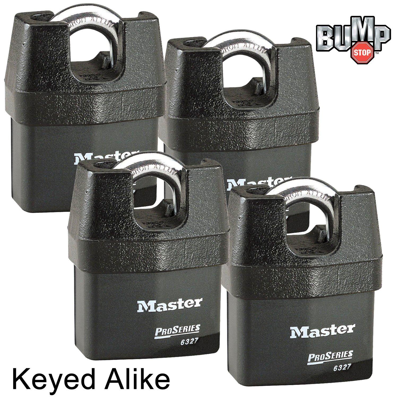 Master Lock Pro Series Padlock - (4) High Security Locks 6327NKA-4 w/ BumpStop Technology …
