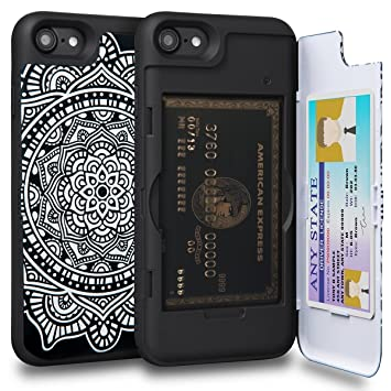 TORU CX Pro Funda iPhone 8 Carcasa Cartera Diseño Mandala con Tarjetero Oculto y Espejo para Apple iPhone 8 / iPhone 7 - Dreamcactcher
