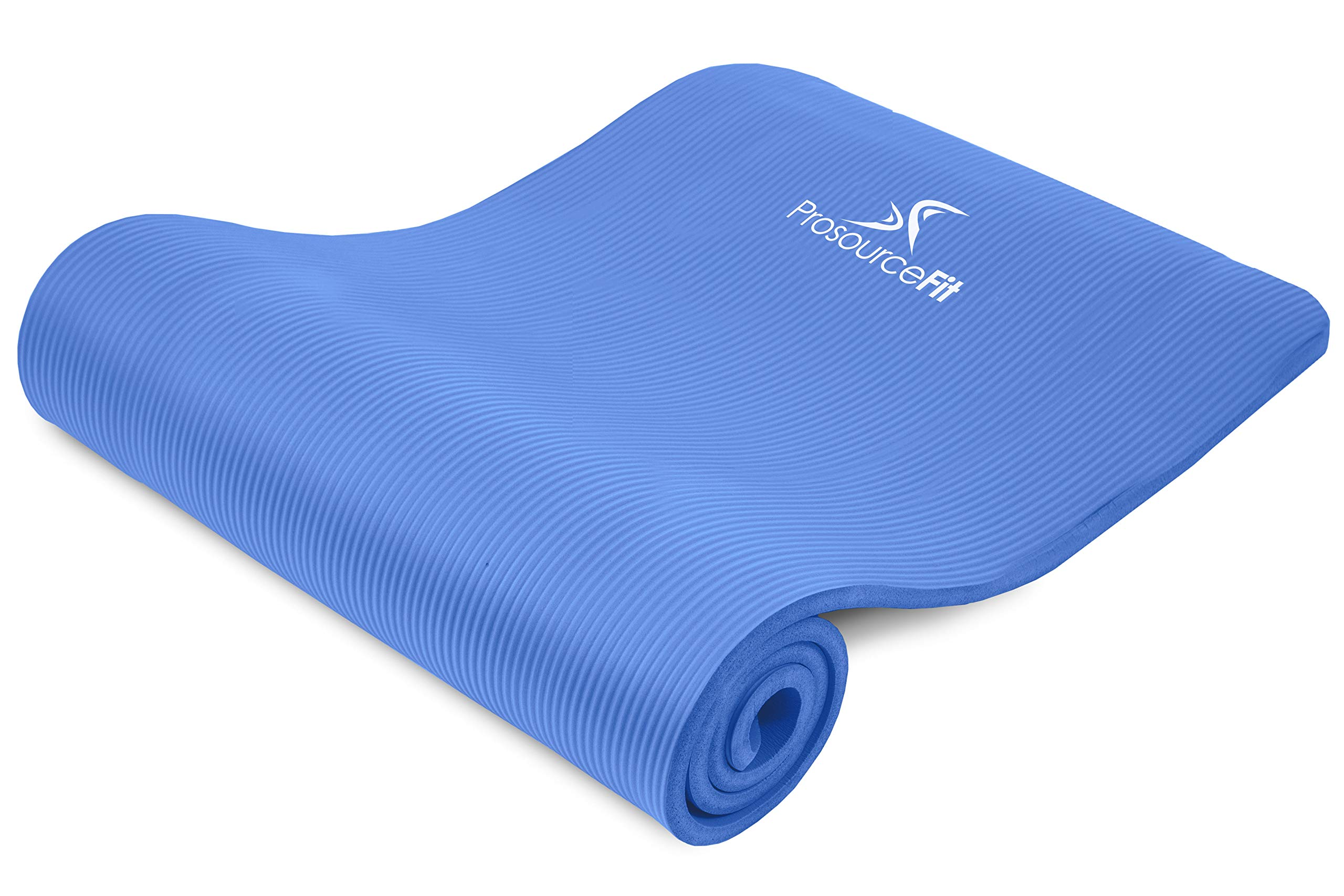 ProsourceFit Extra Thick Yoga and Pilates Mat ½'' (13mm), 71-inch Long High Density Exercise Mat with Comfort Foam and Carrying Strap, Blue