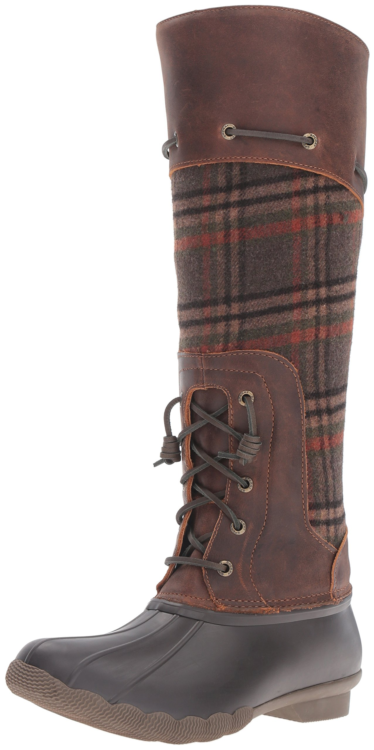 Sperry Top-Sider Women's Saltwater Sela Brown Wool Plaid Rain Boot, Brown/Plaid, 8 M US by Sperry