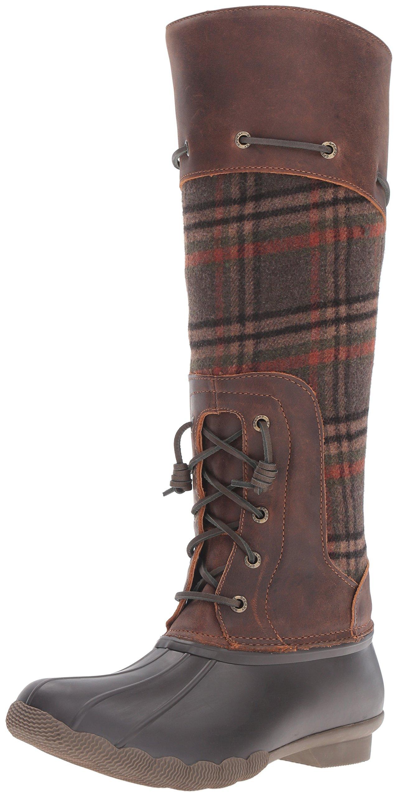 Sperry Top-Sider Women's Saltwater Sela Brown Wool Plaid Rain Boot, Brown/Plaid, 8 M US