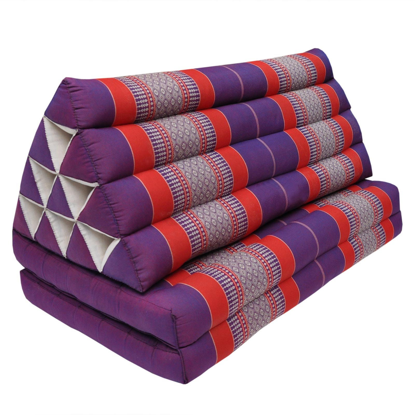 Coussin Thailandais triangle XXL avec assise 2 plis, détente, matelas, kapok, fauteuil, canapé, jardin, plage Violet/Rouge (81517)