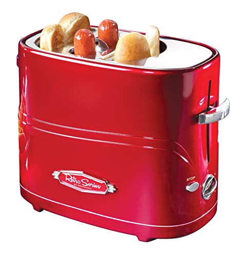 Nostalgia HDT600RETRORED Pop-Up 2 Hot Dog And Bun Toaster