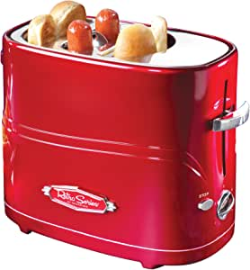 Nostalgia HDT600RETRORED Pop-Up 2 Hot Dog and Bun Toaster With Mini Tongs Works with Chicken, Turkey, Veggie Links, Sausages and Brats, Pack of 1, Retro Red