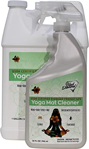 Black Diamond Stoneworks Yoga Mat Spray Cleaner USDA Certified BIOBASED- Essential Oils, Safe for All Type of Materials, Exercise, Pilates, or Workout Mats.