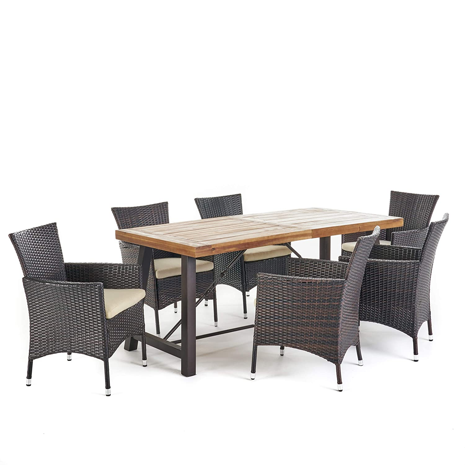 Amazon com great deal furniture sernos 7 piece outdoor dining set wood table wicker dining chairs with cushions in multibrown with teak finish