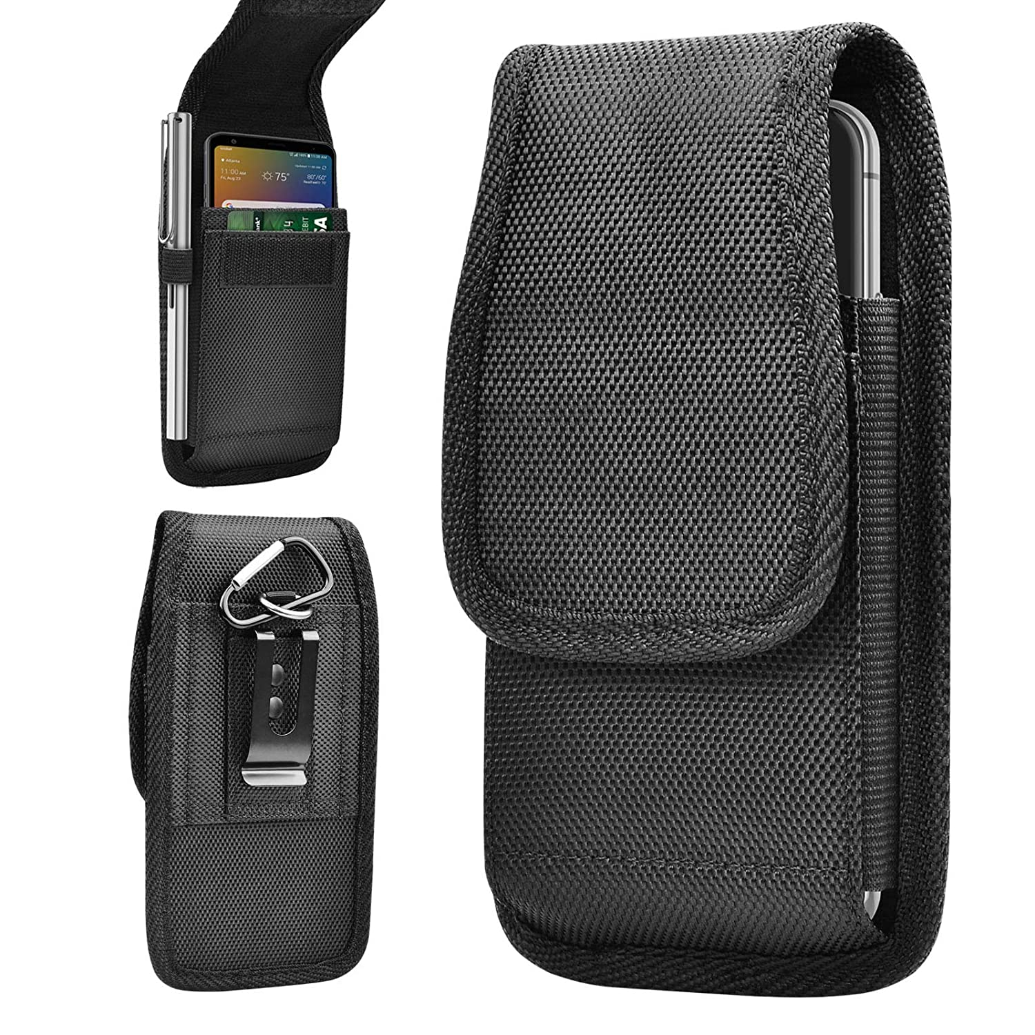 Tiflook Phone Holster Fit for LG Stylo 4 3/V40 V30 G8 G7 ThinQ/K30 Plus/K8 2018/Phoenix 4/Aristo 3 2 up to 6.7〞with Clip&Loops,Oxford Cell Phone Holder Pouch Belt Case Holster with Card Slot (Black)